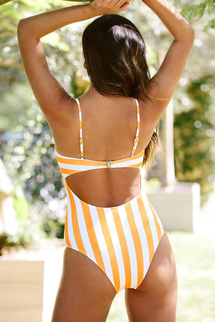 Yellow Candy Striped One-Piece Swimsuit
