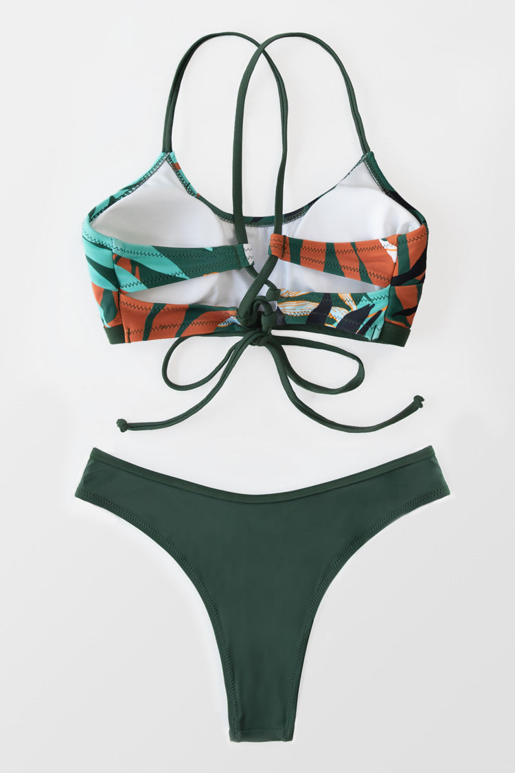 Leafy and Solid Lace Up Bikini