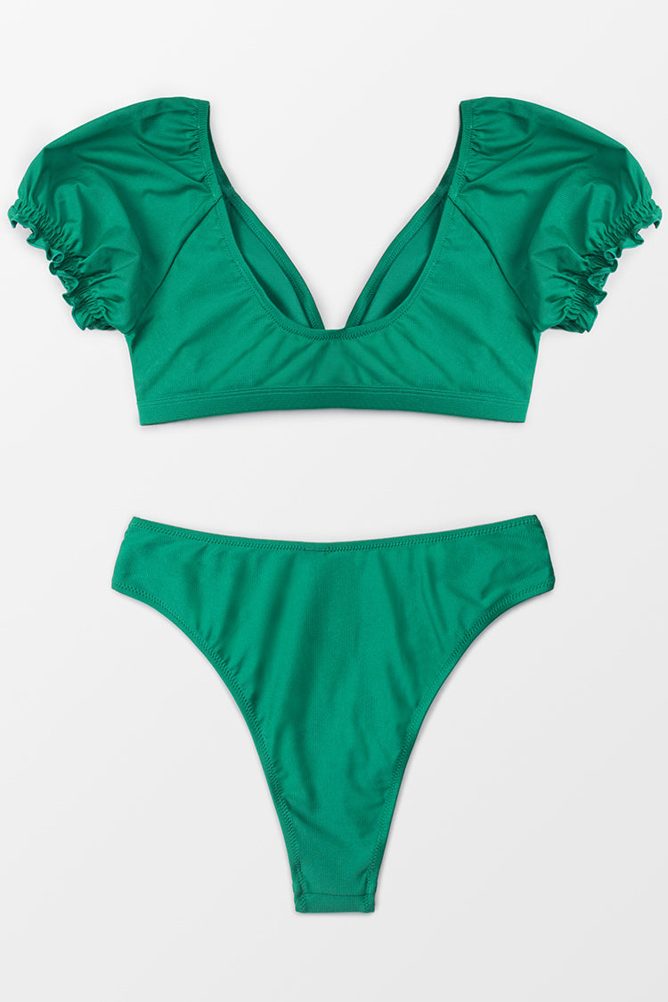 Puffed Sleeve V-Neck Bikini
