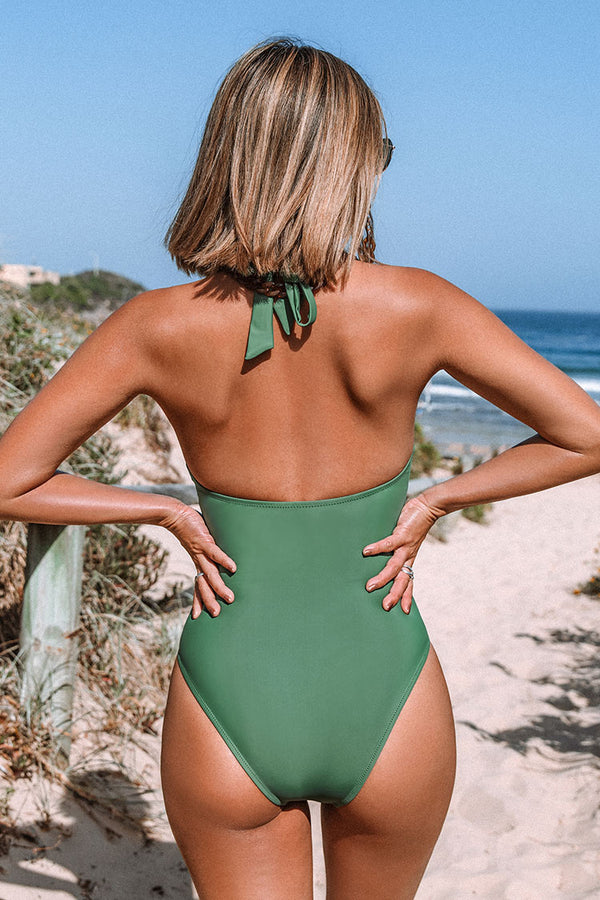 Green Halter Flower Cutout One-piece Swimsuit