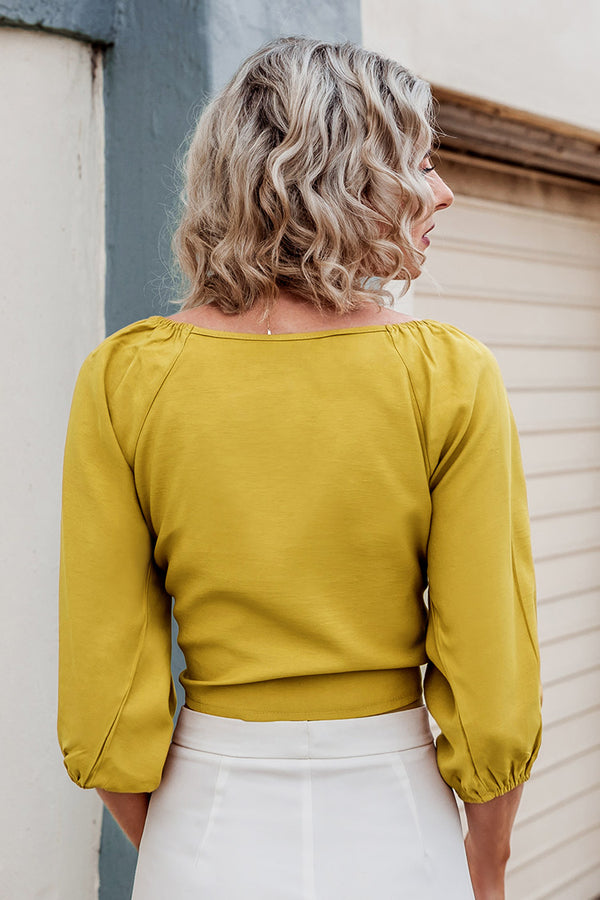 Yellow Shirring Puffed Sleeve Top