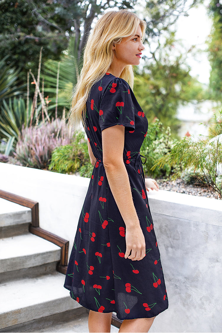 Navy Cherry Print Wrap Dress