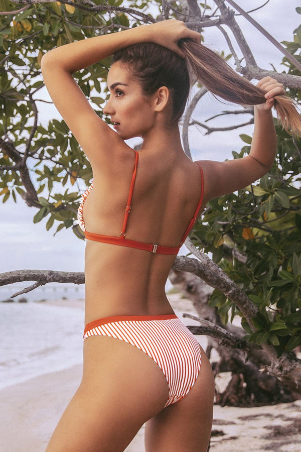 Red and White Ruffled Stripe Bikini