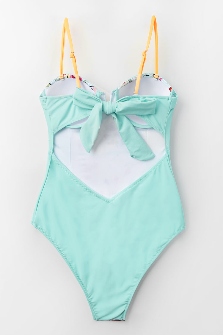 Mint Blue Floral One-Piece Swimsuit With Moulded Cups