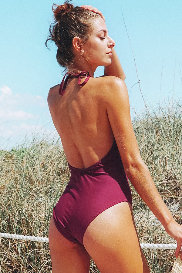 Plum Backless One-Piece Swimsuit