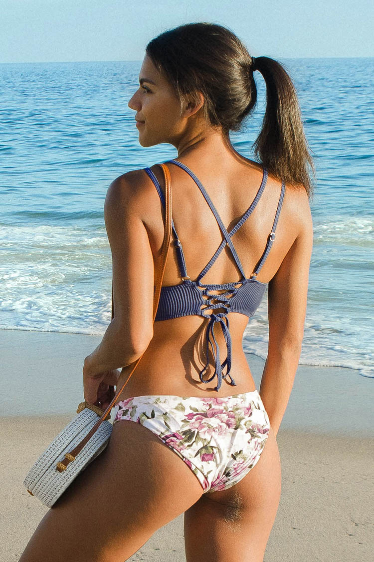 Blue Top with Floral Bikini Set