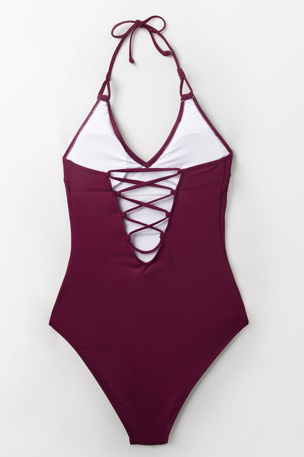 Burgundy Lace-Up One-Piece Swimsuit