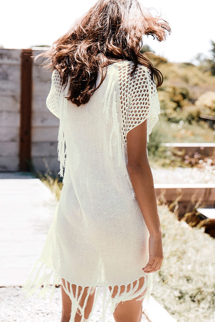 Beige Crocheted V-neck Cover Up