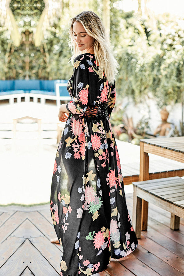 Floral Lace Waist Long Cover Up