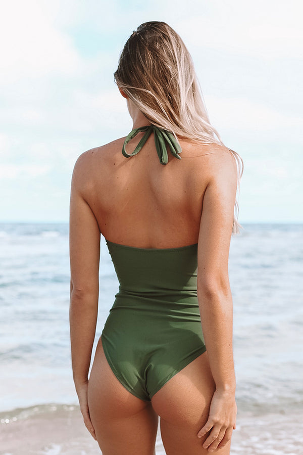 Mossy Green Ruched One Piece Swimsuit
