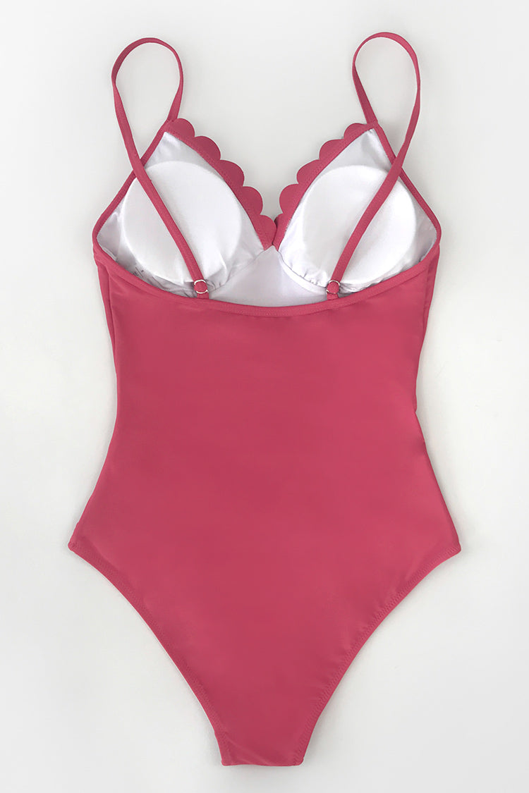 Dark Coral Scallop Trimmed One Piece Swimsuit
