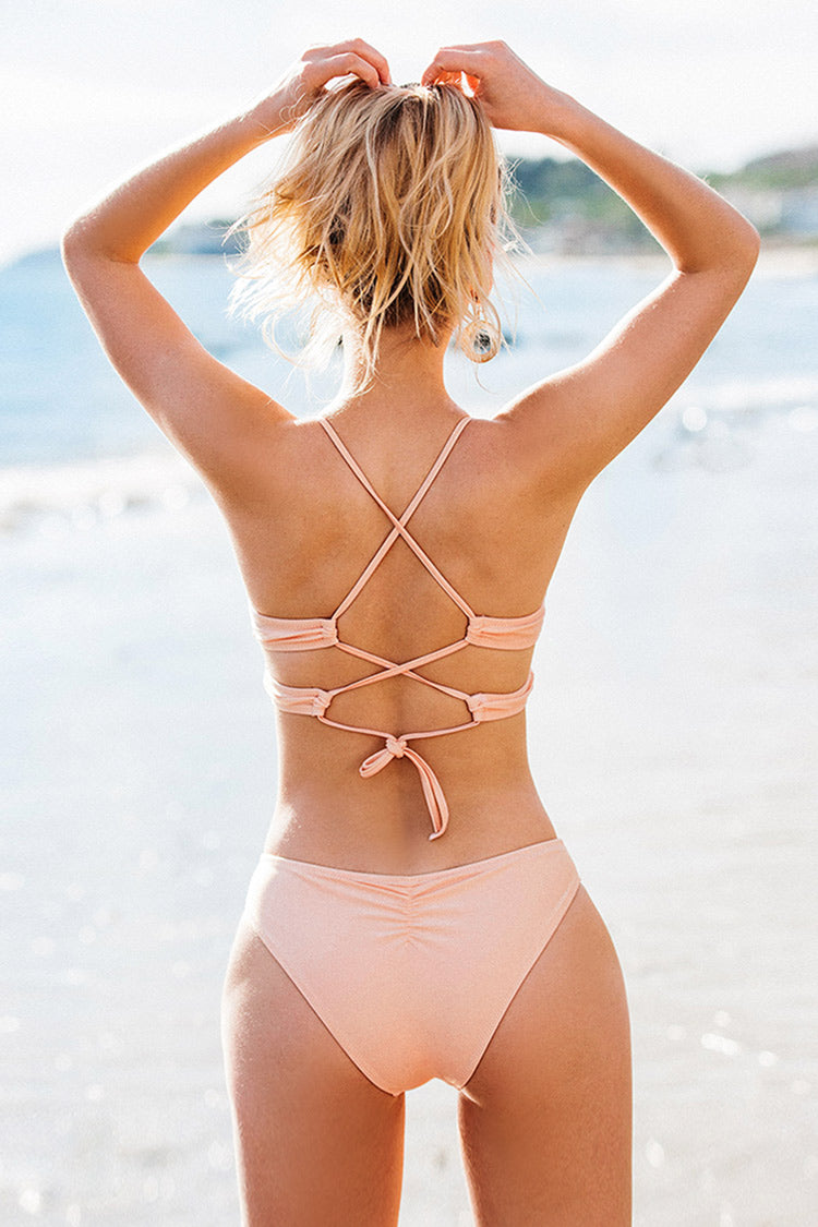 Sweet Pink Solid Lace Up Bikini