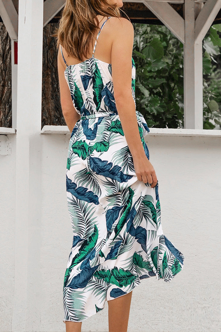 Tropical Blues Palm Print Ruffled Midi Dress
