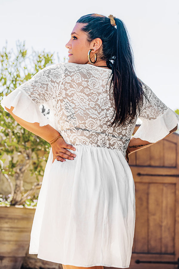 White V-neck Short Plus Size Dress