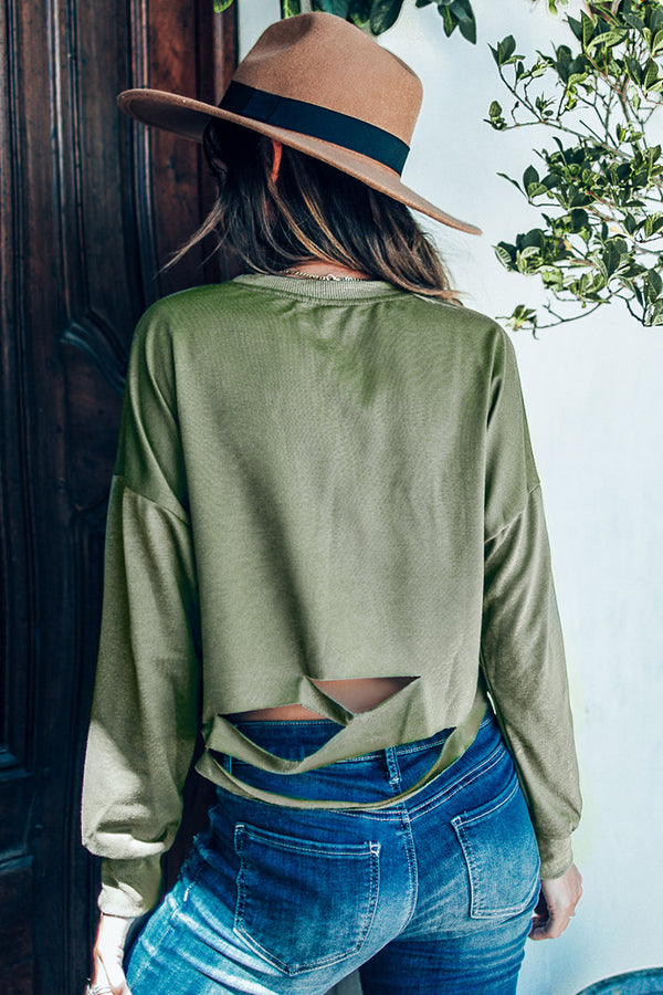 Green Cropped Slashed Sweater