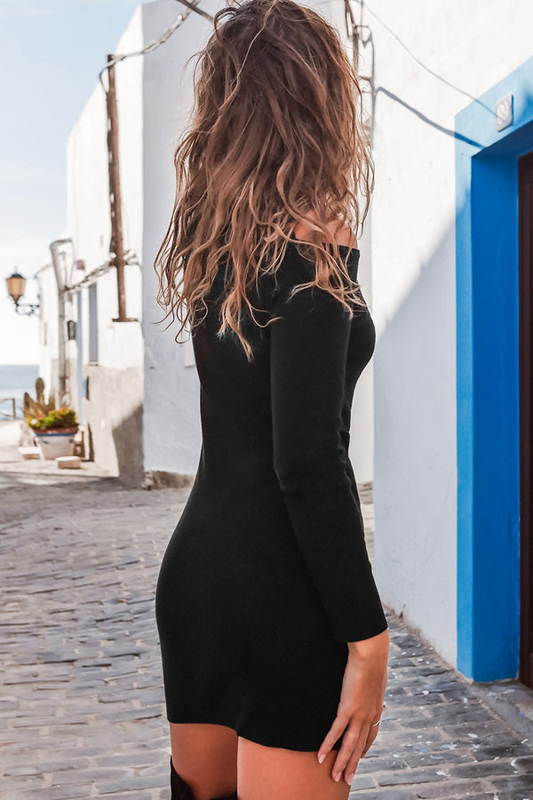 Black Turtle Neck Bodycon Dress