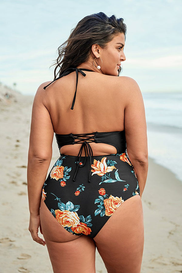 Black Floral Print Halter Plus Size Cut Out One Piece Swimsuit