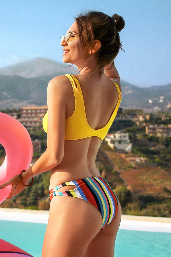 Yellow and Rainbow Cutout Bikini