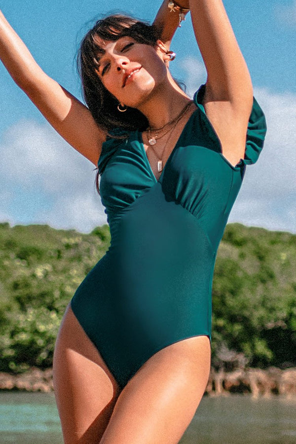 Solid Plunging One-Piece Swimsuit