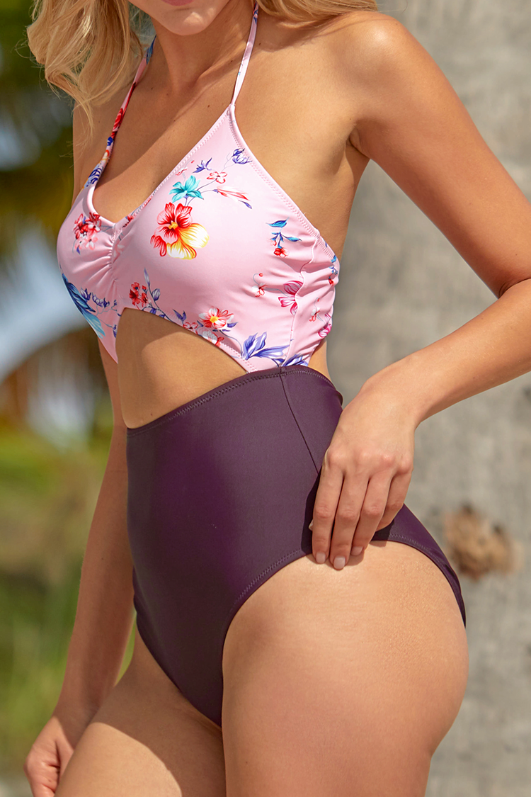 Pink and Purple Floral Cutout One-Piece Swimsuit
