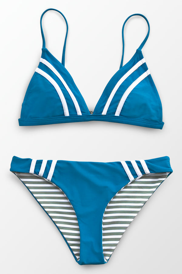 Blue And Stripe Reversible Bikini