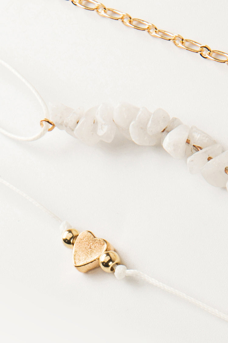 Gold And Stone Stack Bracelets