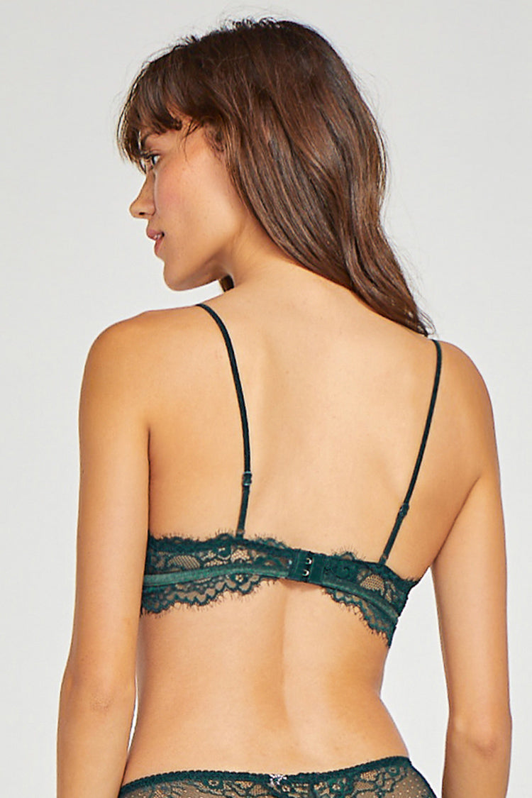 Green Lace Trim Velvet Bralette