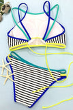 Cupshe Somewhere Out There Stripe Bikini Set