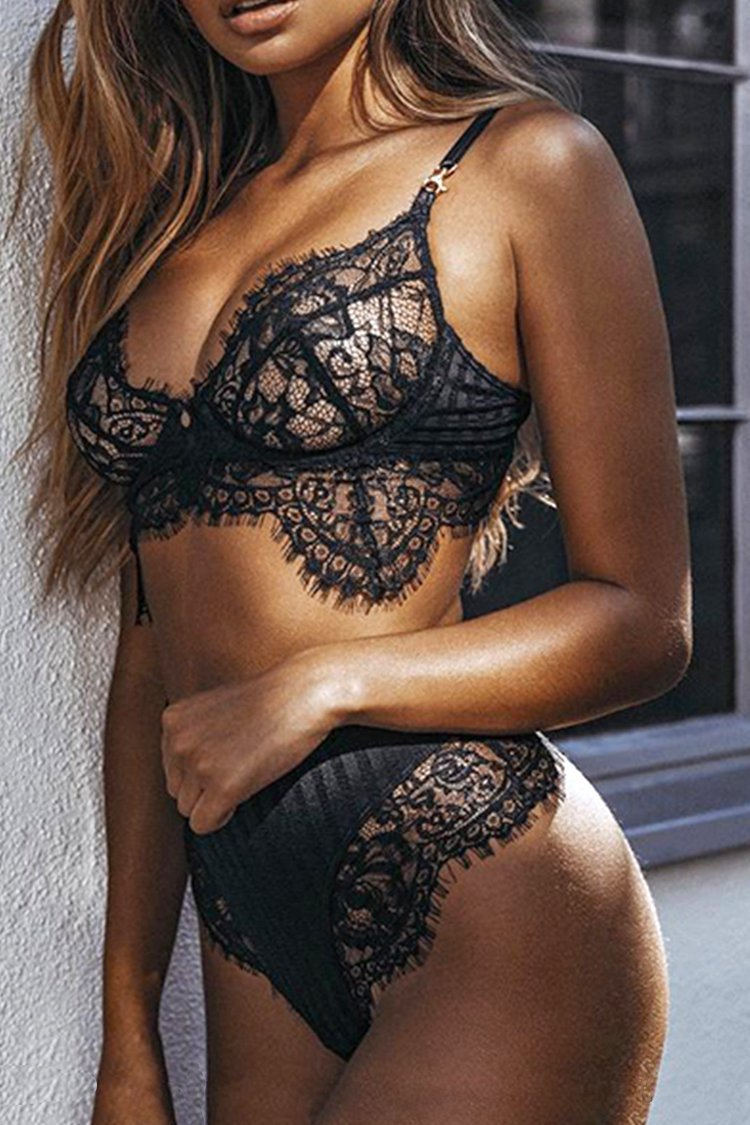 Black Lace Lingerie With High Waist Bottom