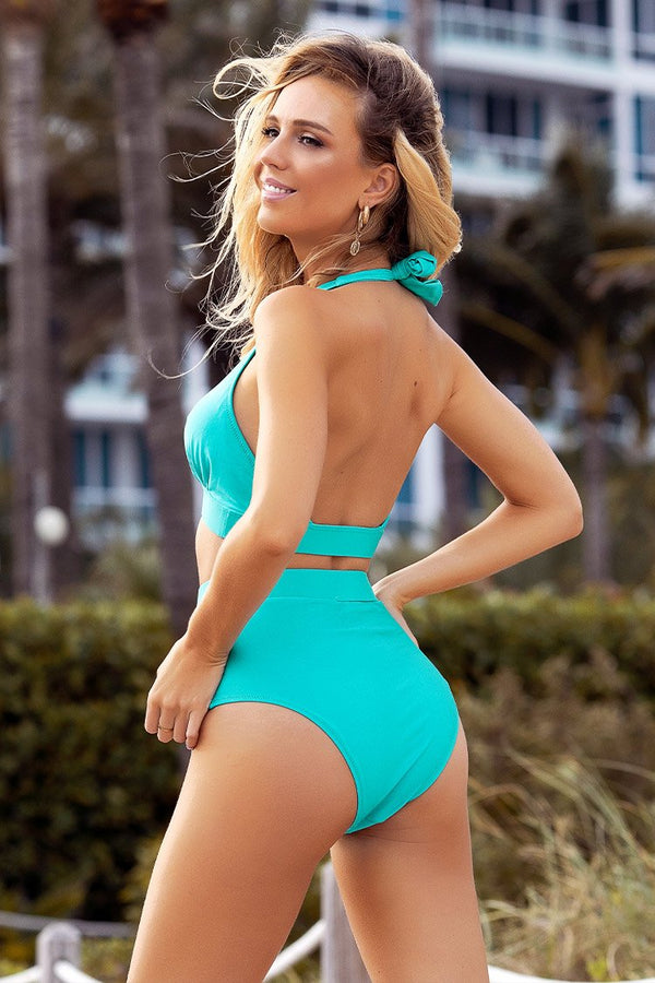 Teal Halter High-Waisted Bikini