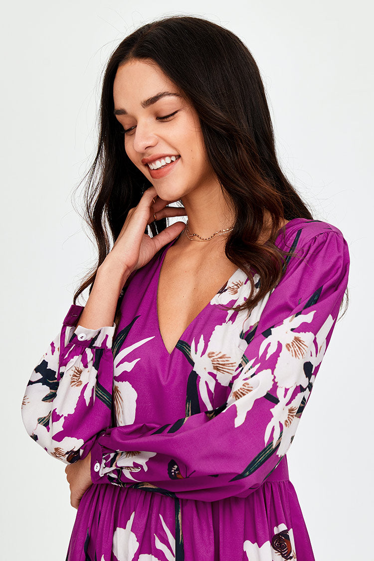 Purple Blossoms Floral V-neck Maxi-Dress