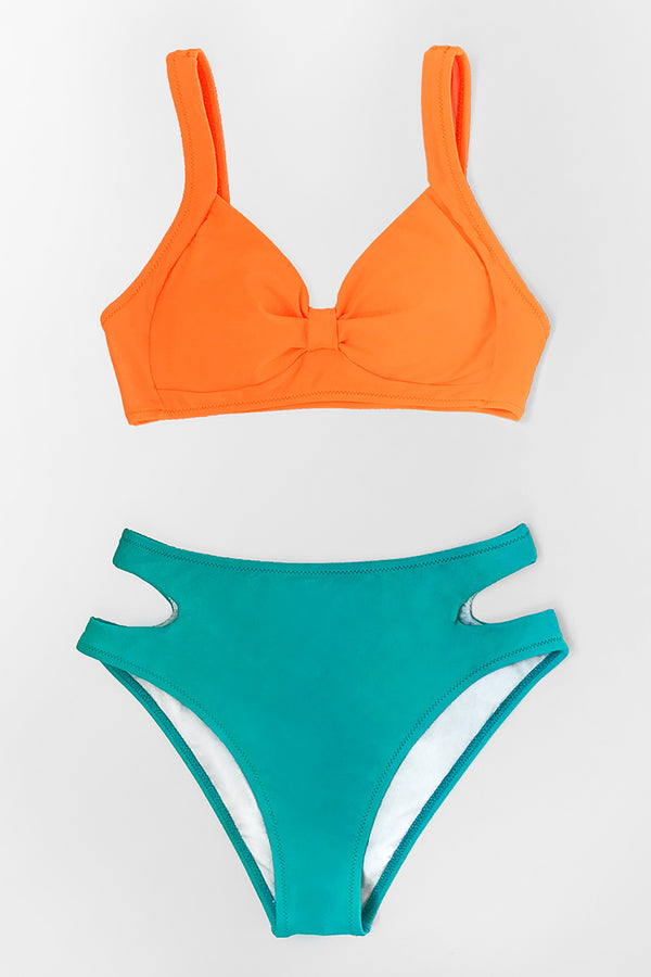 Neon Orange Knotted Bikini Top
