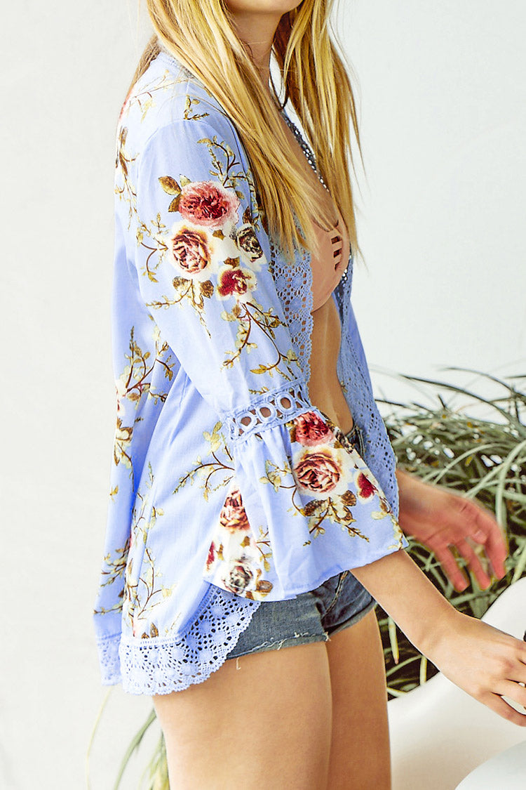 Blue Horn Sleeve Floral Print Cover Up
