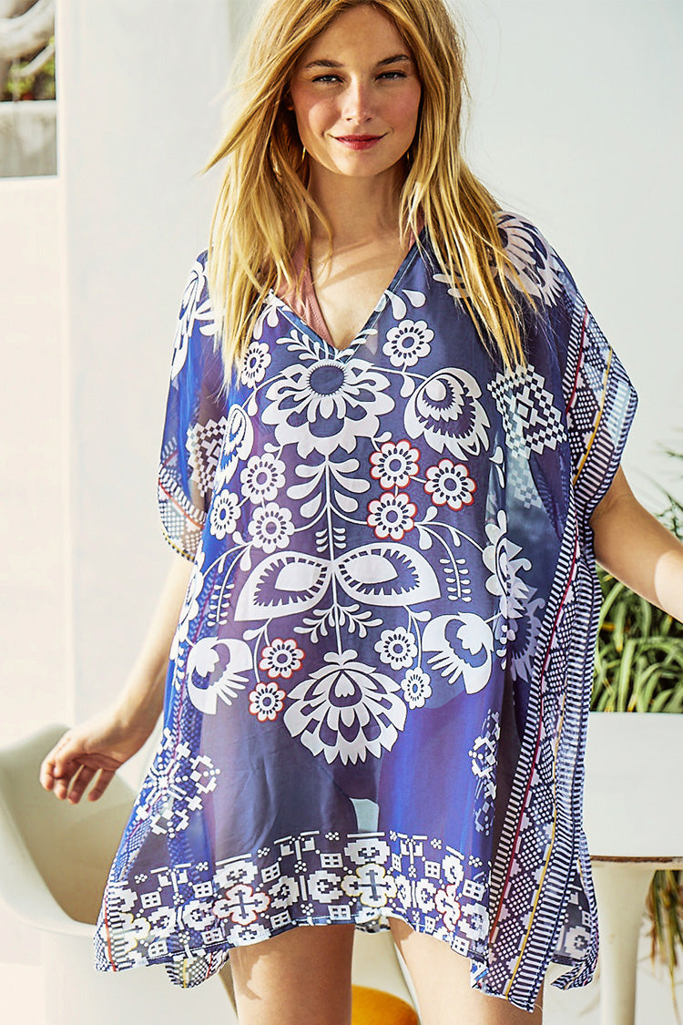 Navy blue Floral Print Cover Up