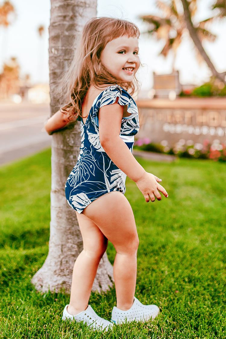 Blue Leafy Print One-Piece Swimsuit For Toddler Girls and Girls