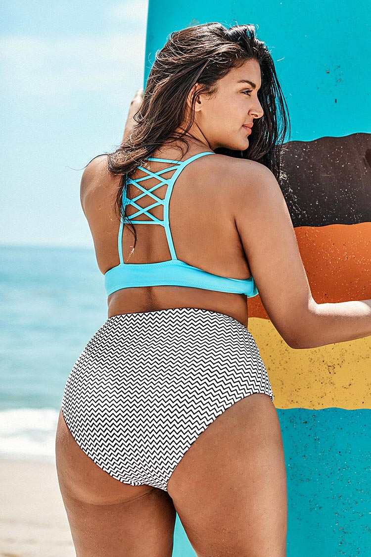 Sky Blue and Stripe Print Plus Size Bikini