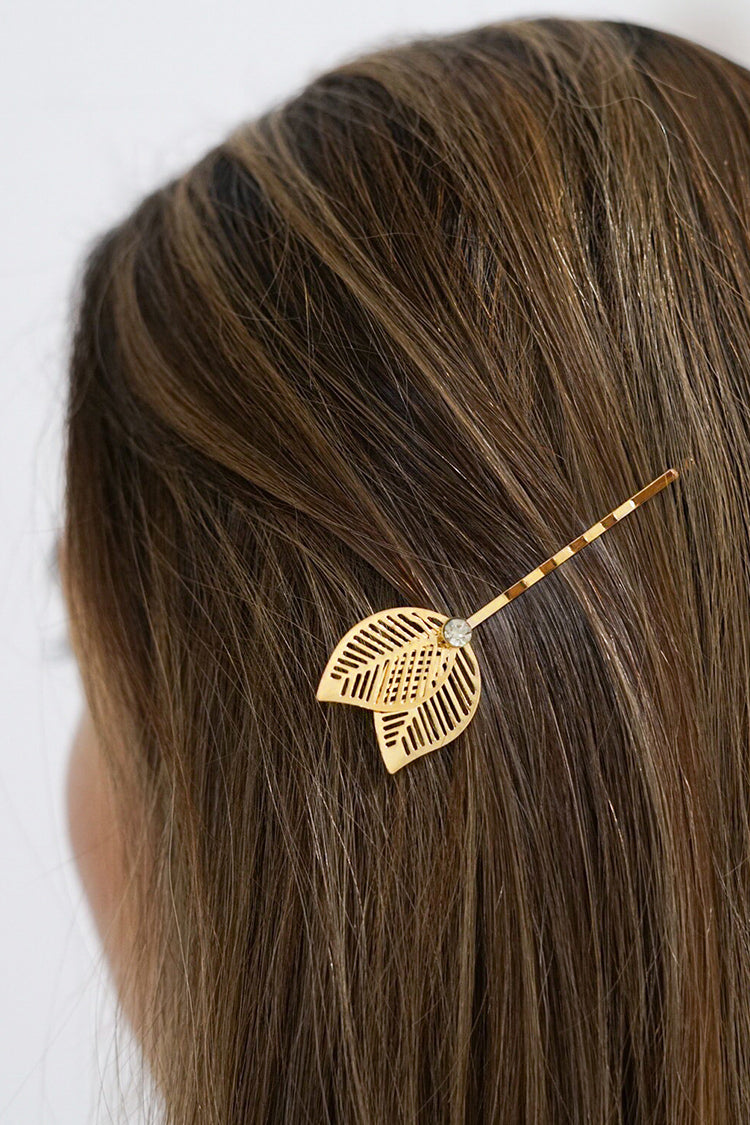 Leaves and Rhinestone Hair Pin