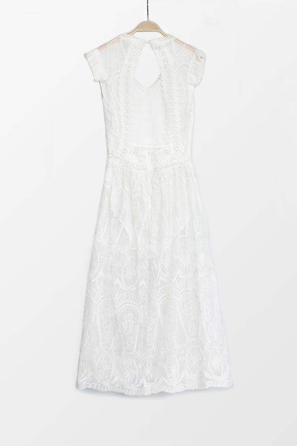 White Lace Plunge Dress