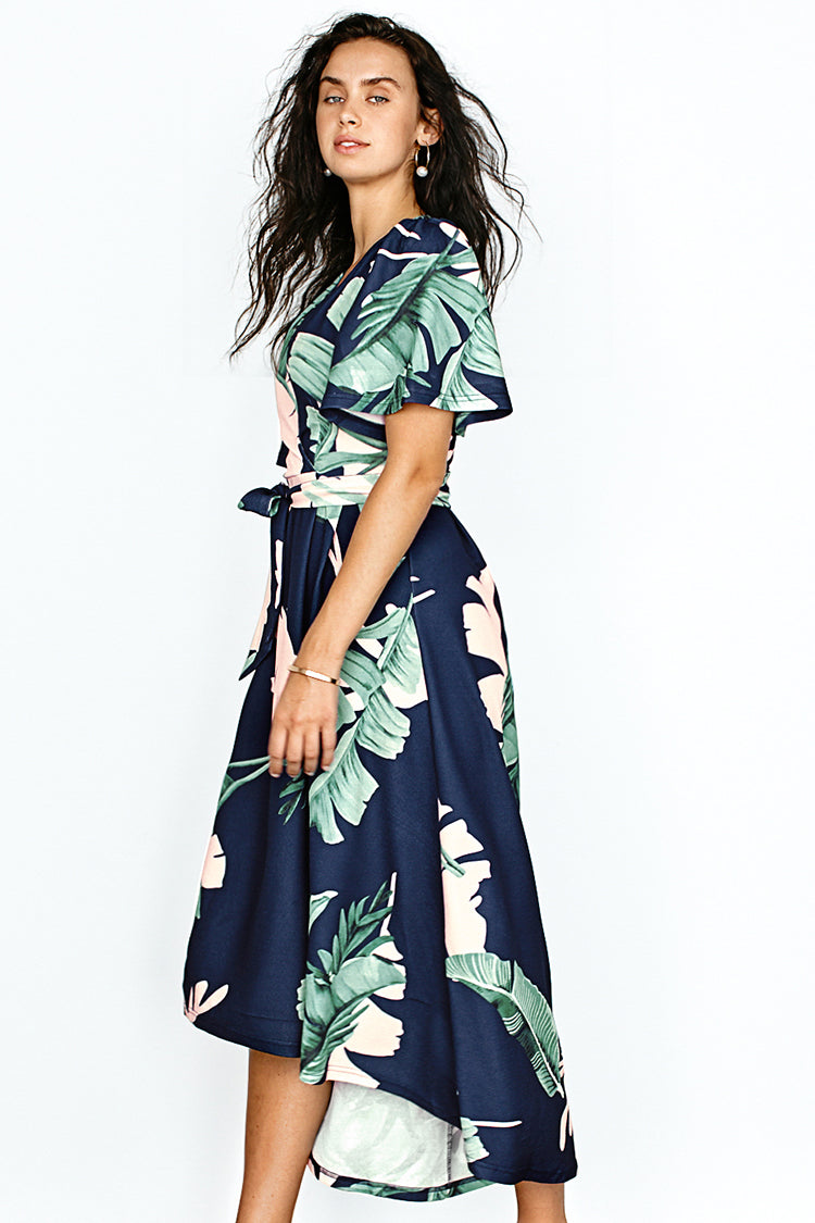 Navy Palm Print Short Sleeve Midi Dress