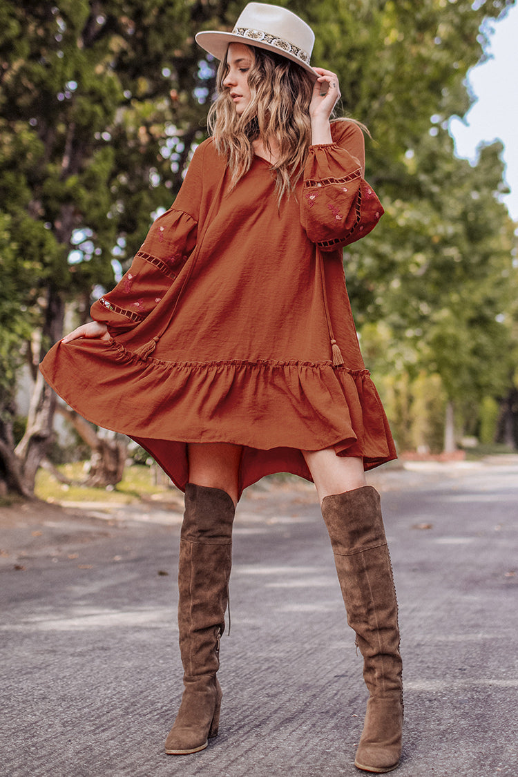 Boho Ruffled Hem Dress
