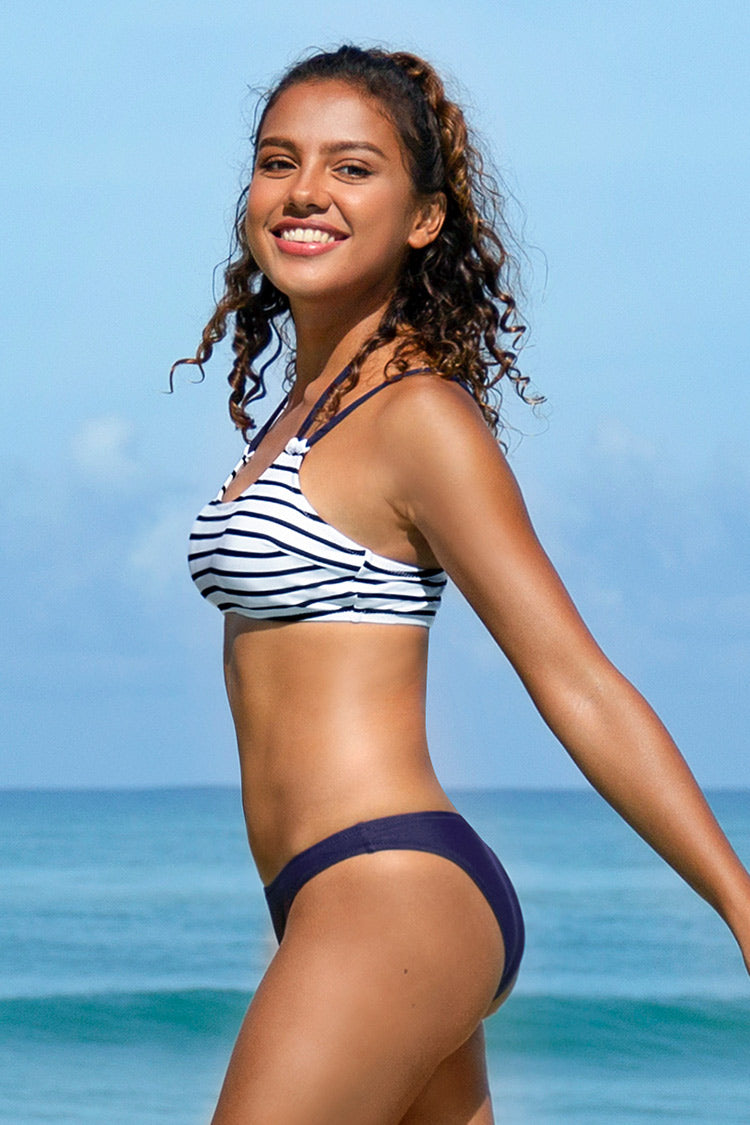 Navy Striped Halter Bikini
