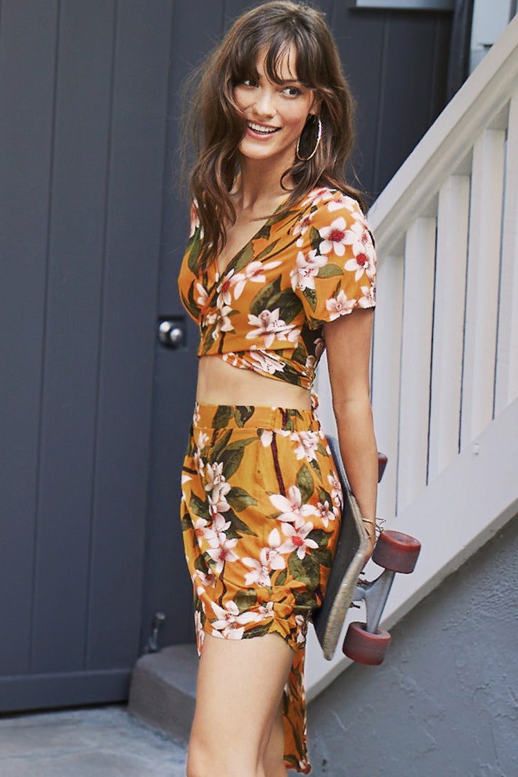 Yellow Floral Two-Piece Dress