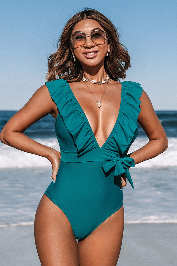 Teal Plunging Ruffle One Piece Swimsuit