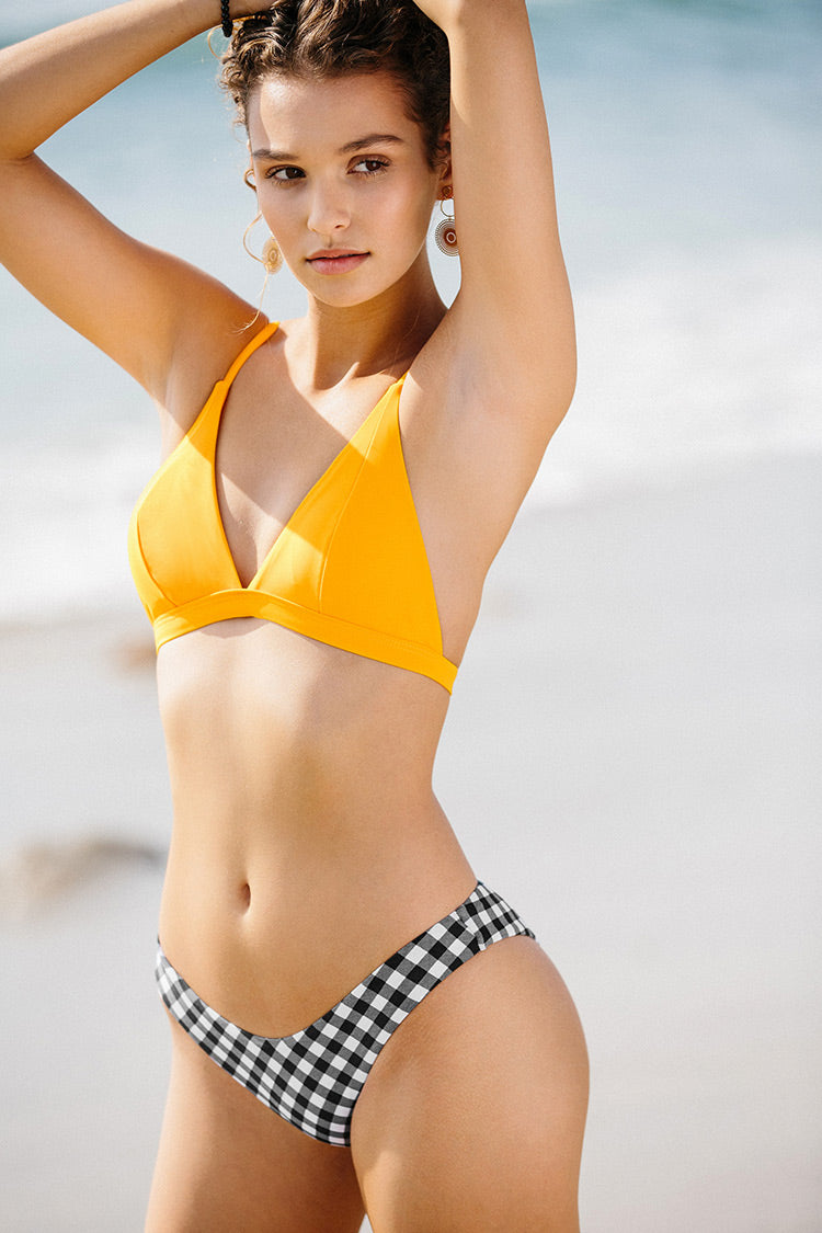 Yellow and Gingham Triangle Bikini