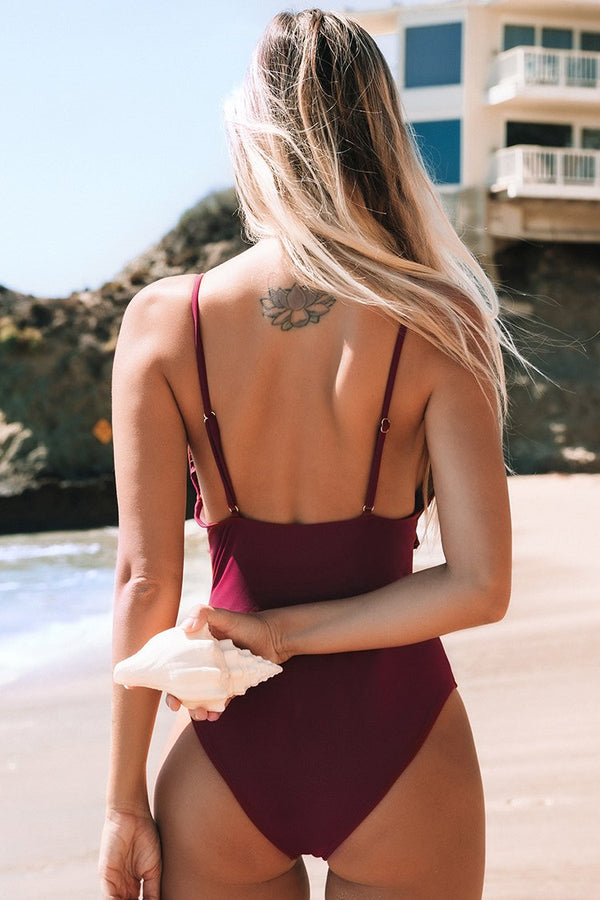 Red Ruffled One-Piece Swimsuit
