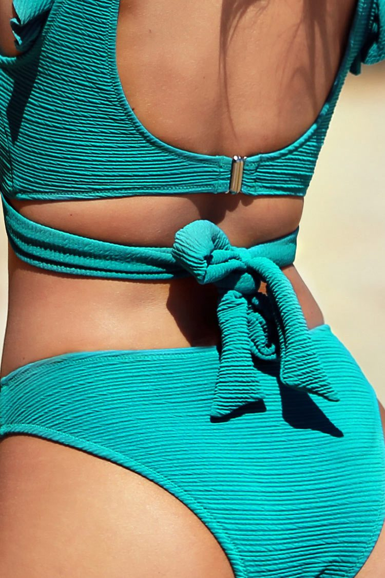 Blue Ruffled Ribbed Bikini
