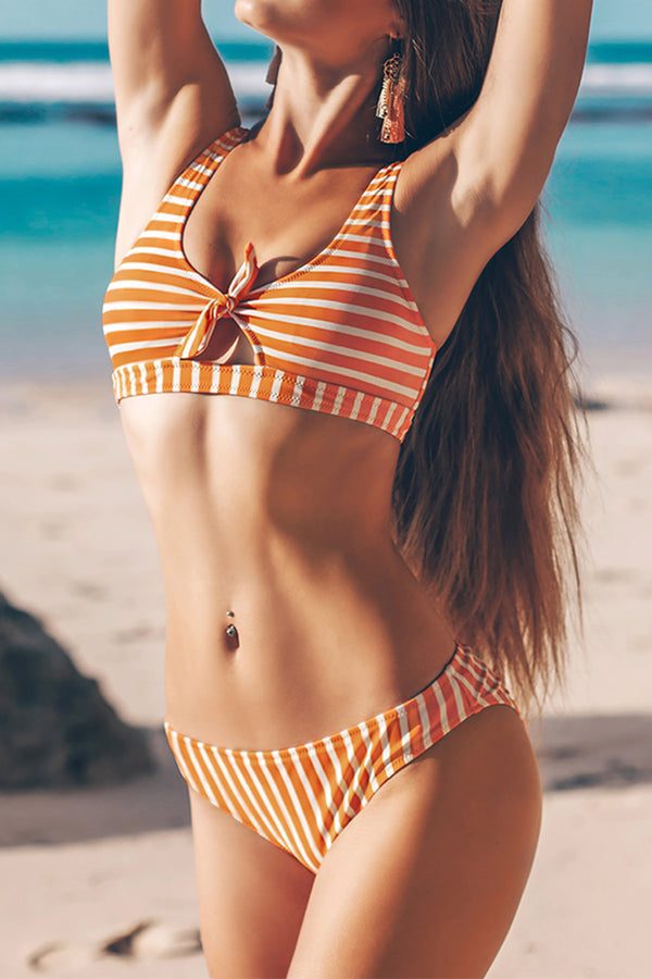 Orange And White Stripe Bikini With Bowknot