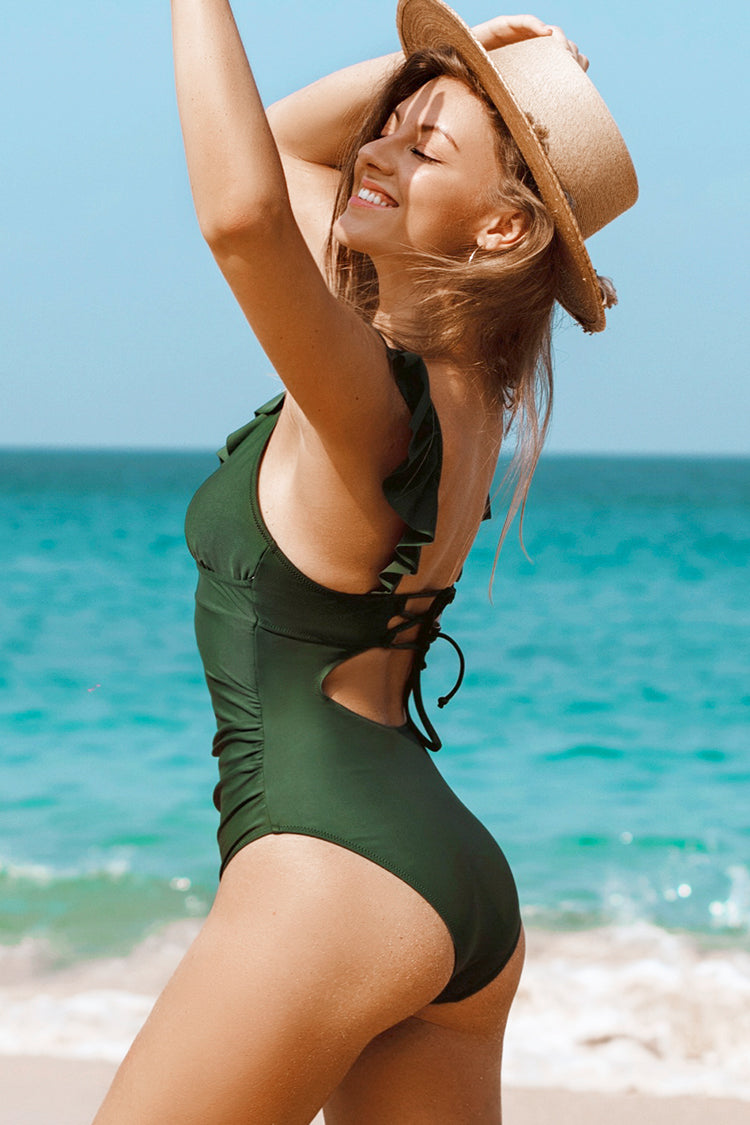 Moss Green Ruffle One Piece Swimsuit