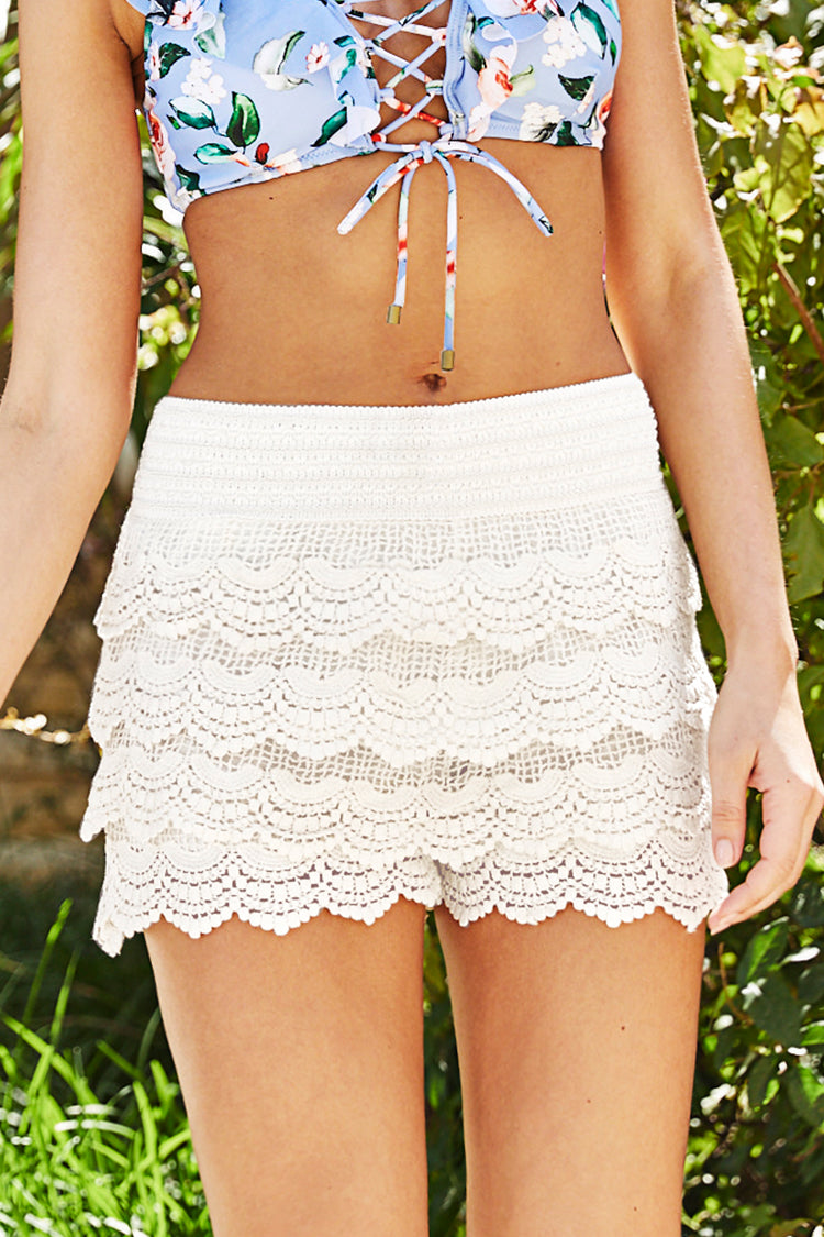 Cream Crochet Cover Up Shorts