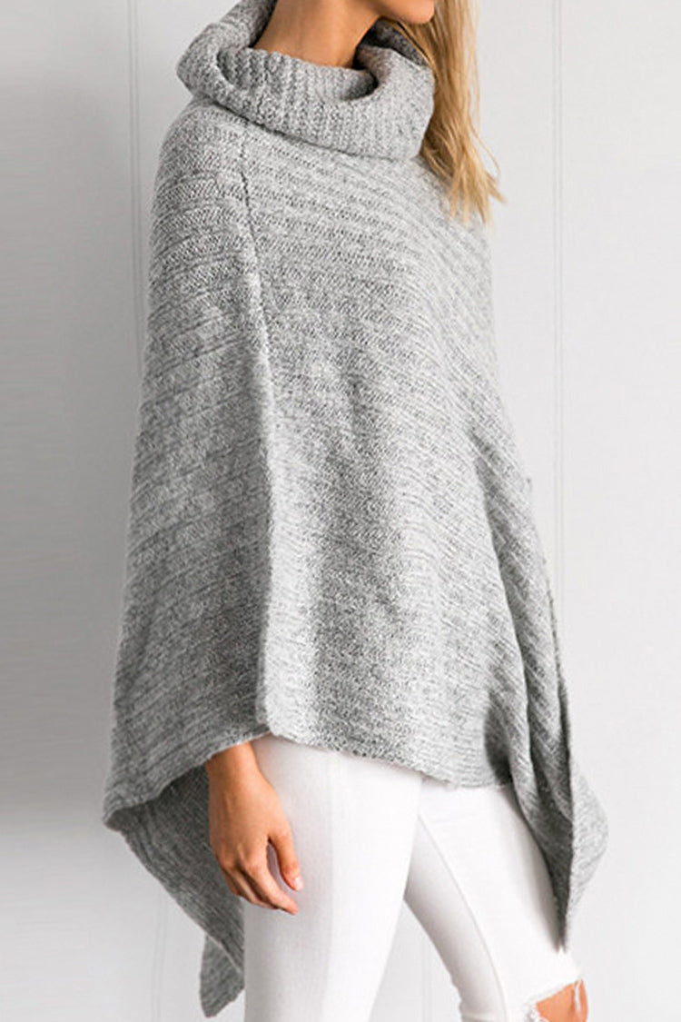 Grey Turtle Neck Poncho